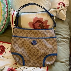 Coach brown leather purse blue trim brand new
